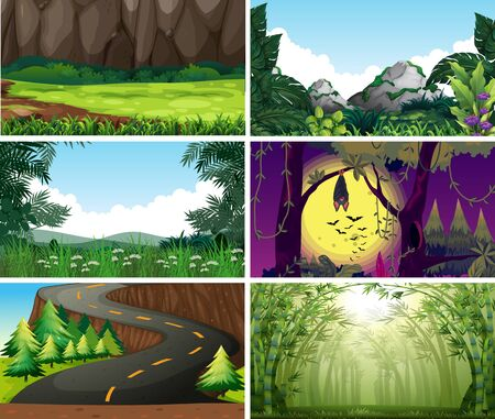 Empty, blank landscape nature scenes illustration