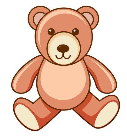 Brauner Teddybär auf weißer Hintergrundillustration
