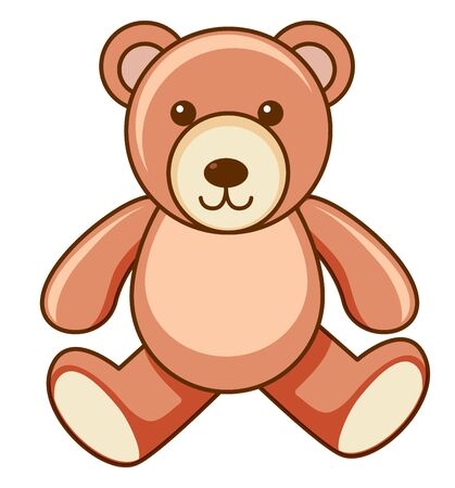 Brown teddy bear on white background illustration