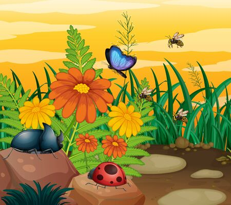Background scene with insects in the park illustration
