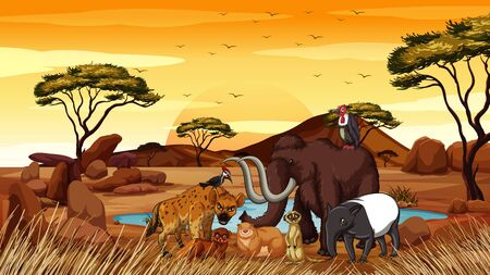 Scene with many animals in savanna illustration