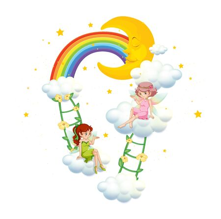 Two fairies on clouds on white background illustration