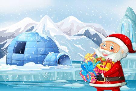 Christmas theme with Santa and igloo illustration