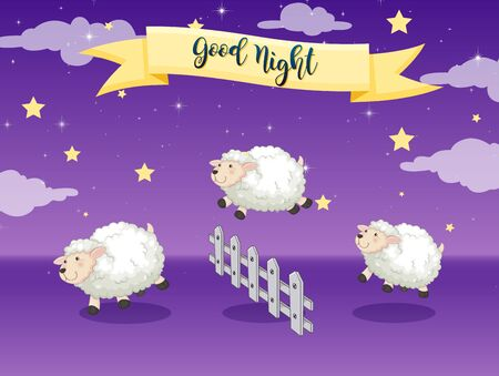 Good night poster with counting sheep illustration