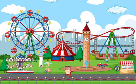 An outdoor funfair scene illustration