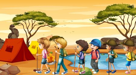 Scene with children hiking and camping illustration