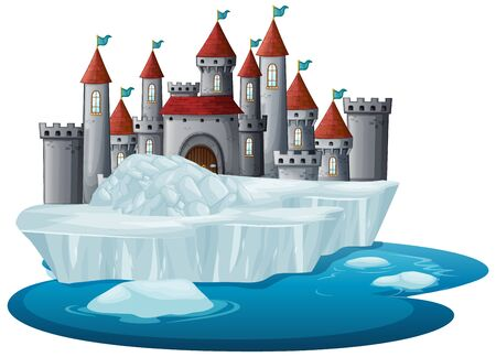 Scene with castle towers on ice illustration