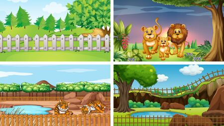 Four scenes with wild animals illustration Illustration