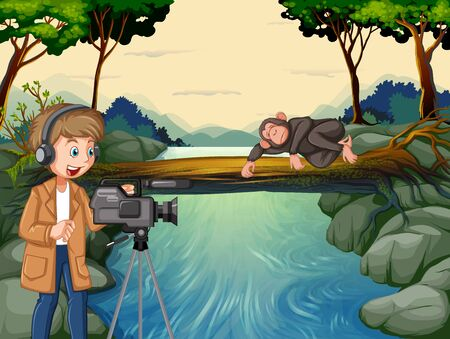 Scene with man filming in the woods illustration Иллюстрация