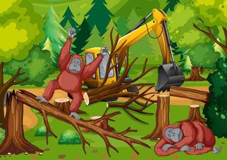 Deforestation scene with monkey and tractor  illustration