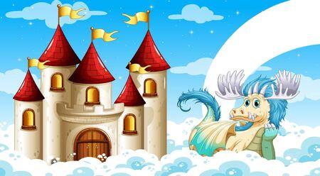 Scene of castle and dragon
