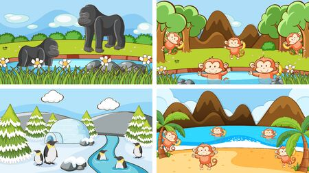 Background scenes of animals in the wild illustration 일러스트