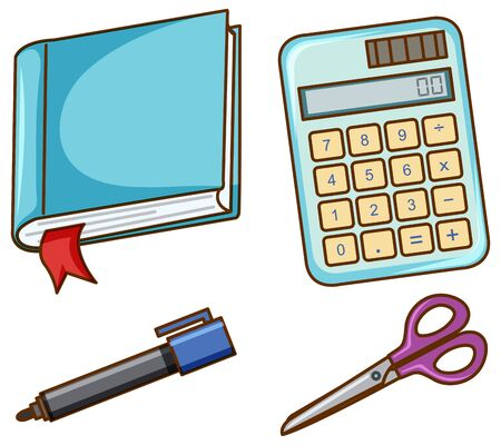 Isolated set of stationeries illustration