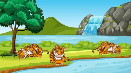 Escena con tigres salvajes en la ilustración del parque