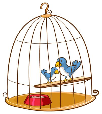 Two blue birds in the cage illustration