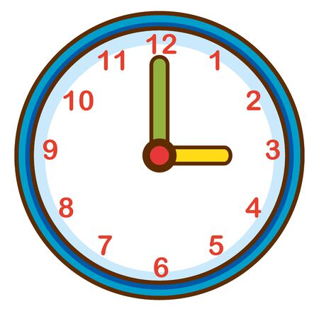Reloj de pared en la ilustración de fondo blanco