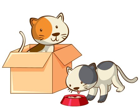 Isolated picture of two kittens illustration