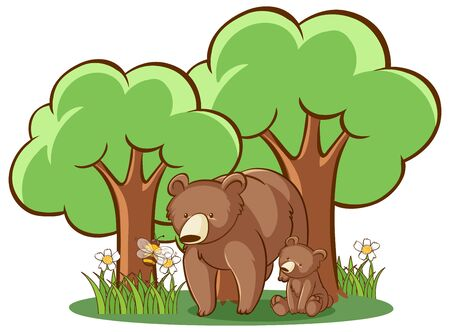 Grizzly bears on white background illustration