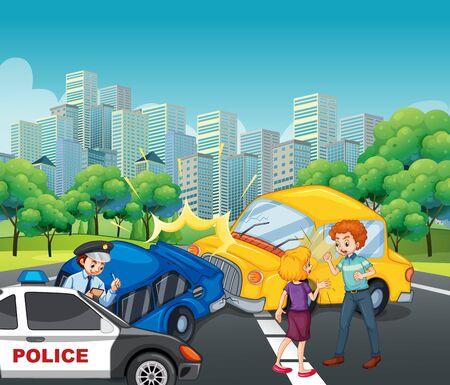 Accident scene with car crash in the city illustration Ilustração