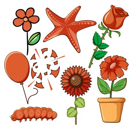 Set of flowers and other things in red illustration