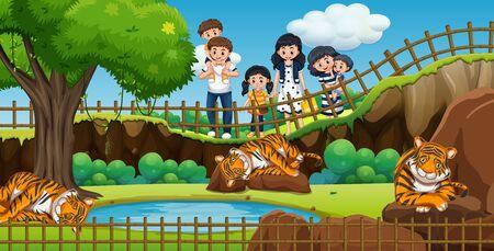 Escena con gente visitando la ilustración del zoológico.
