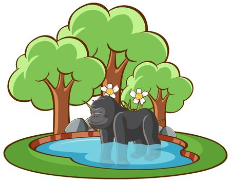 Isolated picture of gorilla in the pond illustration Çizim