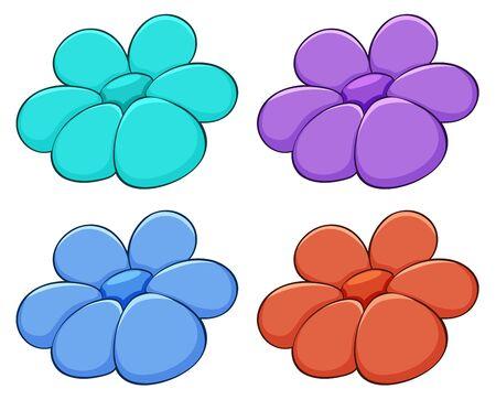 Isolated set of flowers illustration Foto de archivo - 133419316
