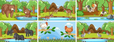 Background scenes of animals in the wild illustration Illustration