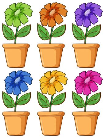 Isolated set of flower in different colors illustration Foto de archivo - 133419361