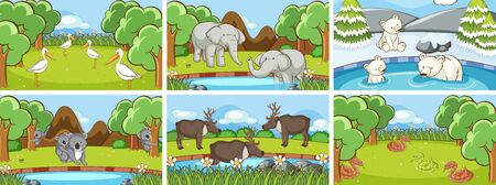 Background scenes of animals in the wild illustration Ilustração