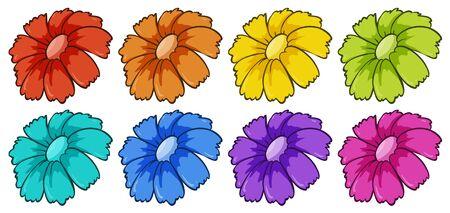 Isolated set of flowers illustration Foto de archivo - 133419365