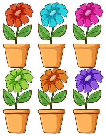 Isolated set of flower in different colors illustration Foto de archivo - 133419369