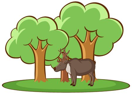 Isolated picture of deer in forest illustration