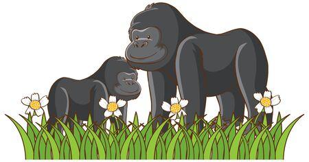 Imagen aislada de gorilas en la ilustración del parque