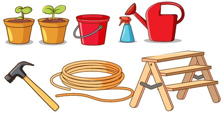 Set of isolated gardening tools illustration
