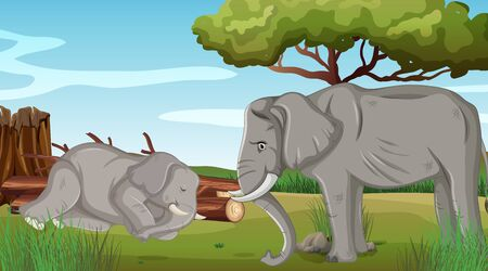 Two sick elephants in the park illustration