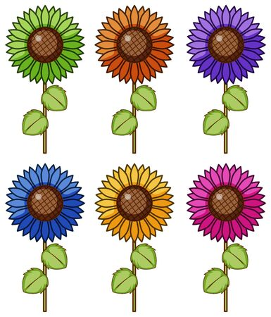 Isolated set of flower in different colors illustration Foto de archivo - 133419524