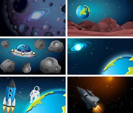 Set of space backgrounds illustration