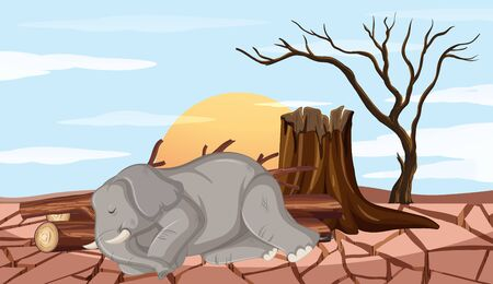 Deforestation scene with elephant and drought illustration