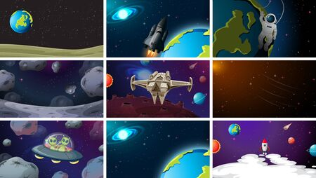 Large set of space scenes illustration