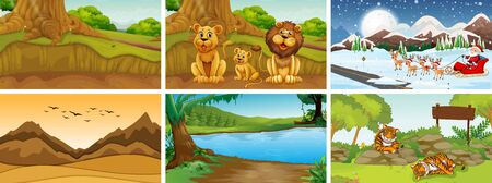 Different scenes of nature illustration Çizim