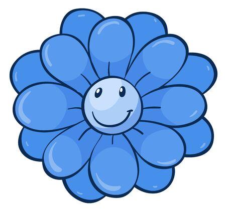 Single flower in blue color illustration Foto de archivo - 133419581