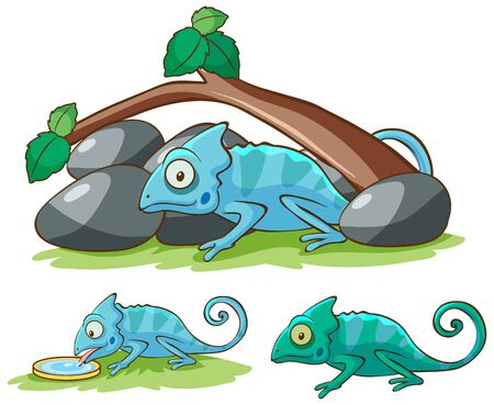 Isolated picture of cute cameleon illustration 矢量图像
