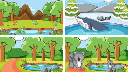 Background scenes of animals in the wild illustration Çizim
