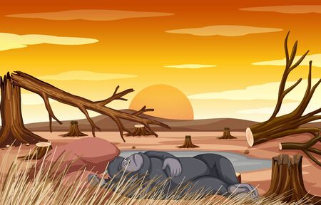 Pollution control scene with monkey and deforestation illustration