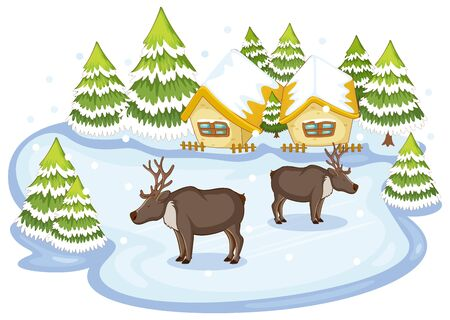 Scene with reindeers in winter illustration Ilustracja