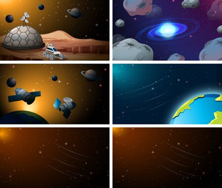 Set of space scenes illustration Illusztráció