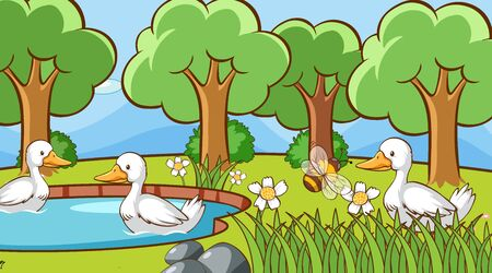 Scene with ducks in the park illustration