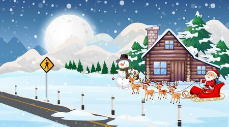 Christmas scene with santa and reindeers illustration
