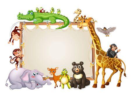 Border template with cute animals  illustration Standard-Bild - 133419666